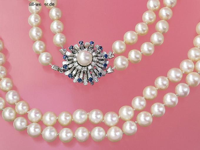 """Perlenkette """"Brillanten und Saphire"""" Zweireihig 585er Weißgold"""