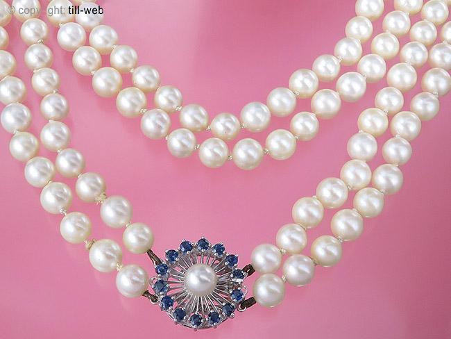 """Perlenkette """"Saphire"""" Weißgold"""