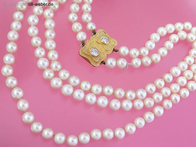 "Perlenketten ""Brillanten total ca. 0,47 Karat"" Gelbgold"