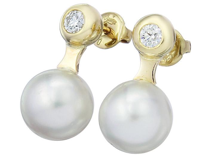 Earrings South Sea Pearl Diamond 18 Karat Yellow Gold