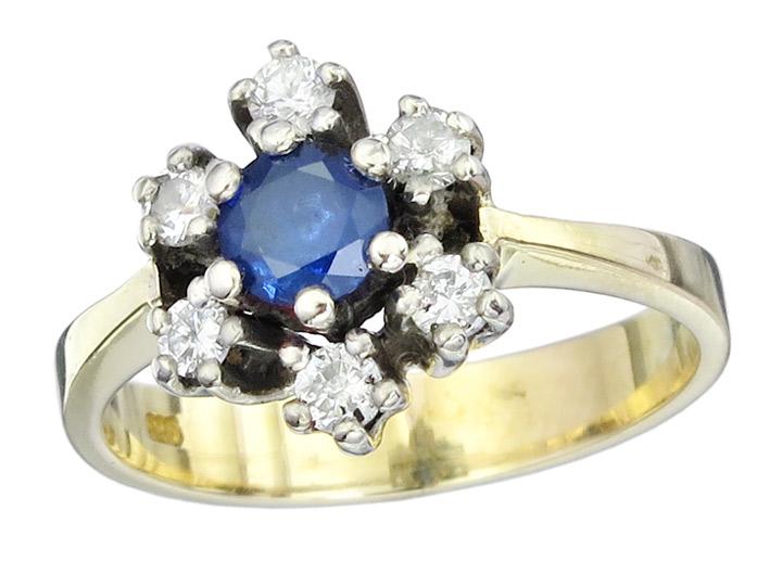 Ring Sapphire Diamonds 14 Karat Yellow and White Gold