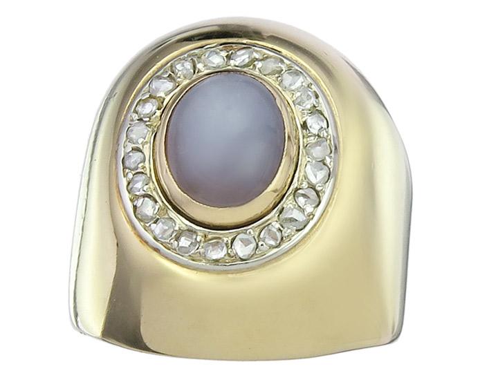 Ring Star Sapphire Diamonds 18 Karat Yellow Gold