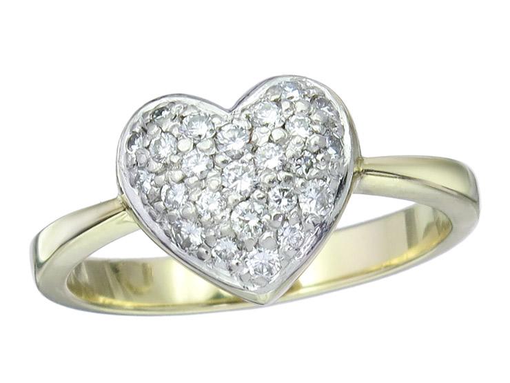 Ring Heart Diamonds 14 Karat Yellow Gold