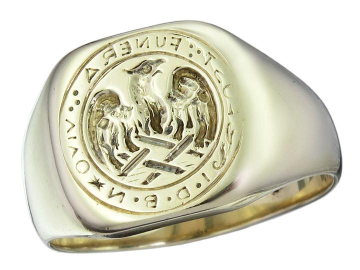 Ring Phönix Inschrift 585er Gelbgold