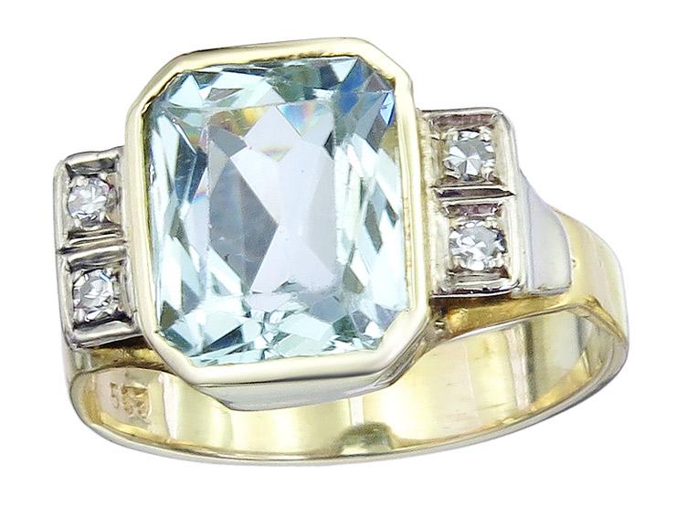 Ring Aquamarine Diamonds 14 Karat Yellow Gold Retro approx. 1940
