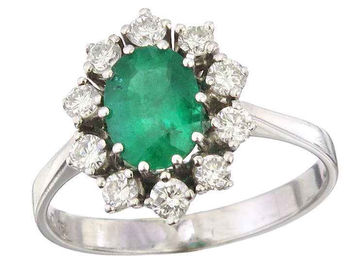 Ring Emerald Diamond 18 Karat White Gold approx. 1965-70