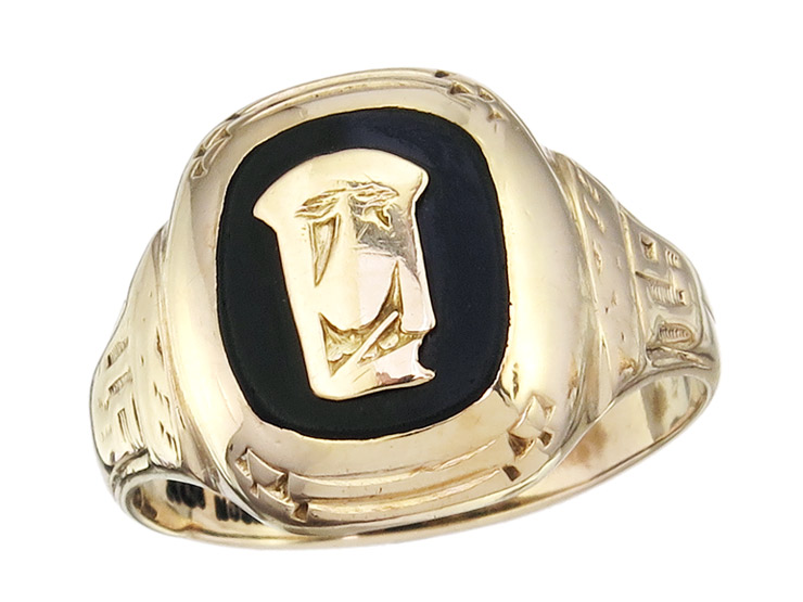 Blazon Ring Onyx 10 Karat Rose Gold Antik