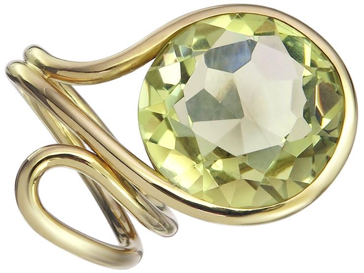 Ring Citrine 18 Karat Yellow Gold
