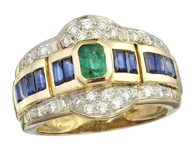 Ring Smaragd Saphire Brillanten 750er Gelbgold