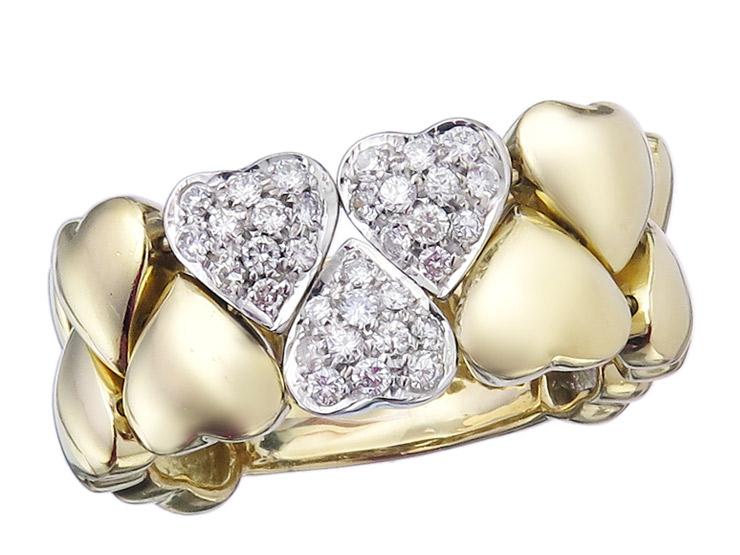Herz Ring Brillanten 750er Gelb- und Weißgold Zertifikat