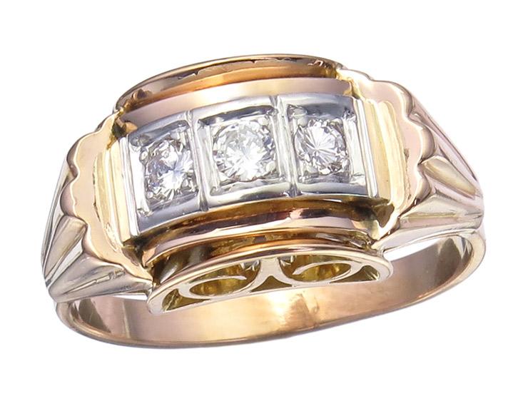 Ring Diamonds 18 Karat Rose Gold Retro approx. 1940