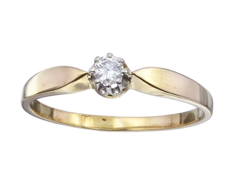 Solitaire Ring Diamond 14 Karat Yellow Gold Retro approx. 1930-50