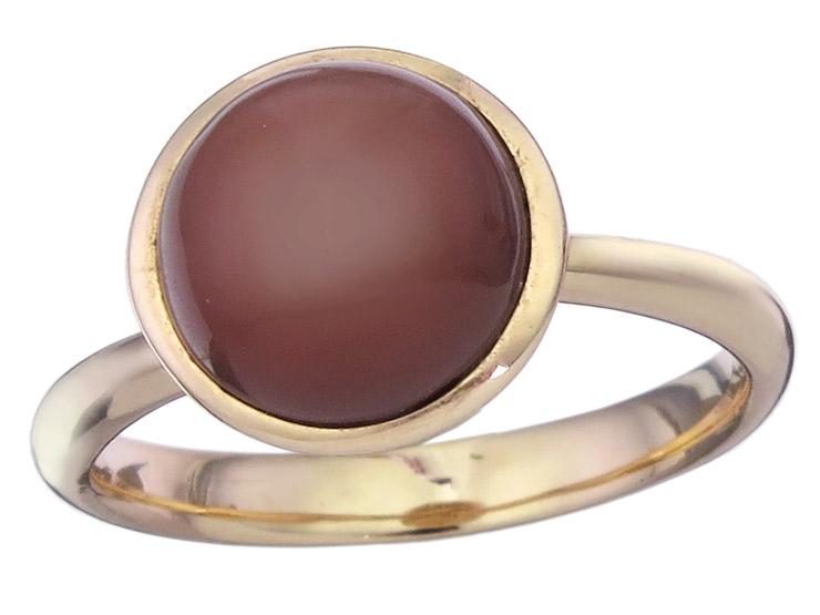 Ring Farbstein Mocca 585er Roségold