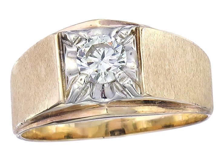 Solitär Ring Brillant 585er Gelb- und Weißgold