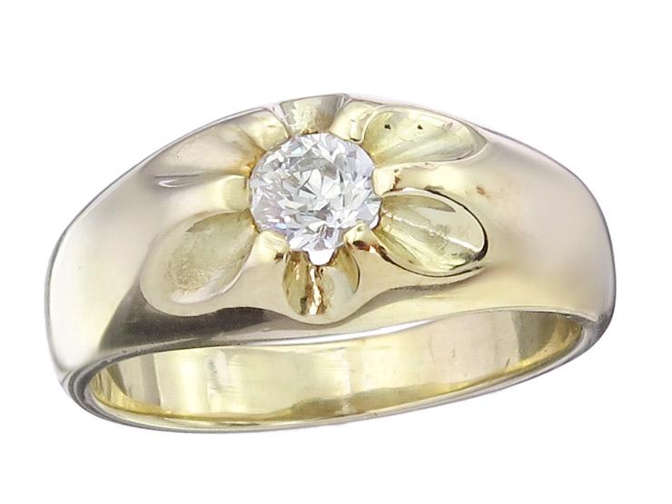 Gypsy Ring Old Cut Diamond 14 Karat Yellow Gold Retro approx. 1930-40