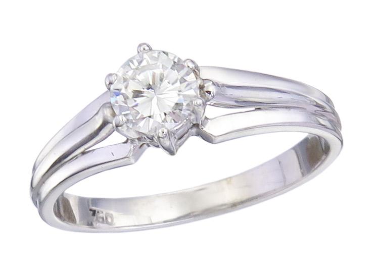 Solitär Ring Brillant 750er Weißgold