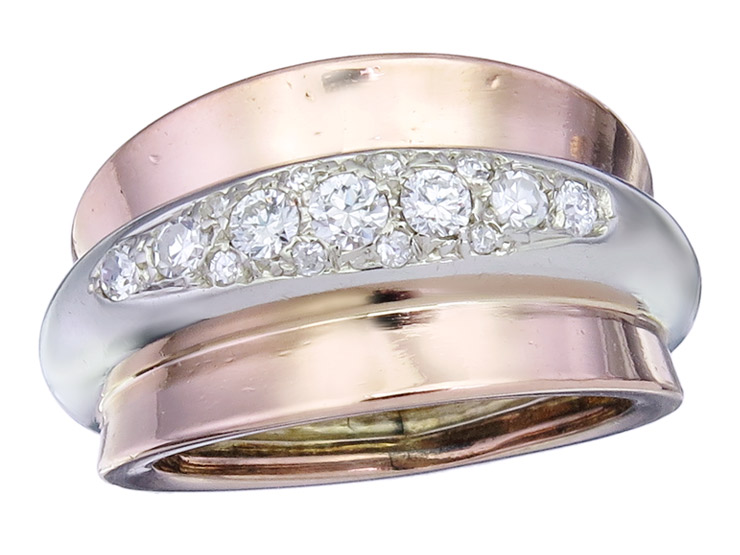 Ring Diamonds 14 Karat Pink and White Gold Retro approx. 1930-40