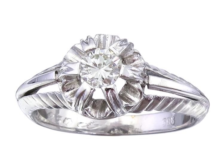 Ring Brillant 585er Weißgold ca. 1950-55