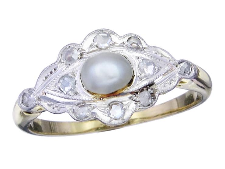 Ring Pearl Diamonds 14 Karat Yellow Gold Antik