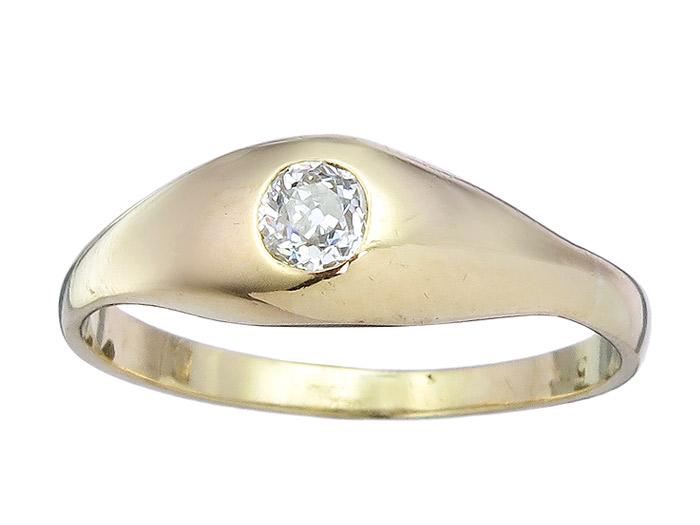 Solitär Ring Altschliff Diamant 585er Gelbgold