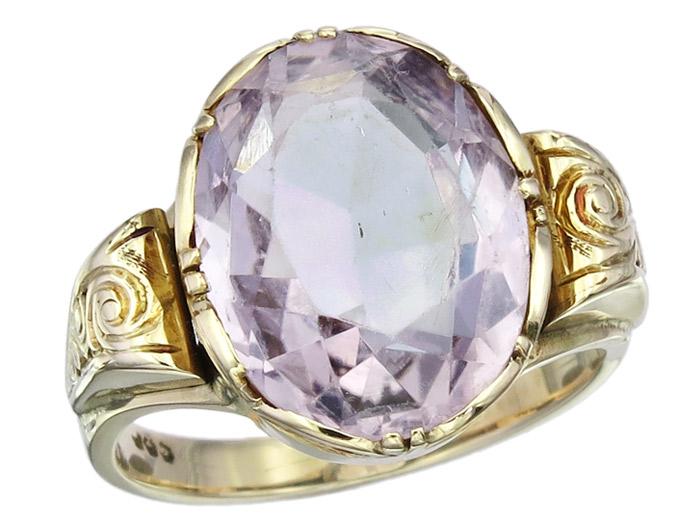 Ring Amethyst 585er Gelbgold Antik ca. 1910-20