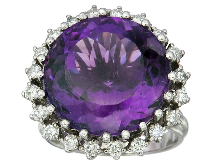 Ring Amethyst Brillanten 18 Karat White Gold