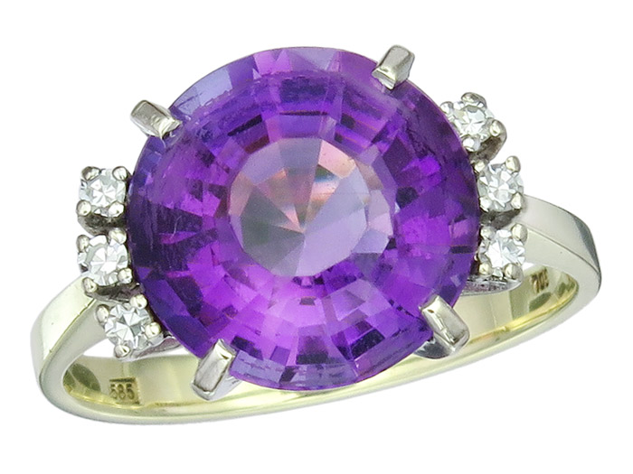 Ring Amethyst Diamanten 585er Gold Zweifarbig Retro ca. 1960
