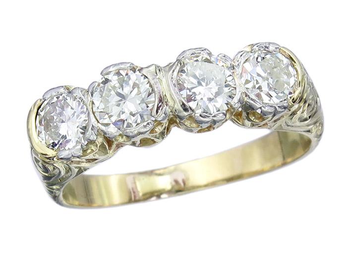 Ring Altschliff Diamanten 585er Gelbgold ca. 1940