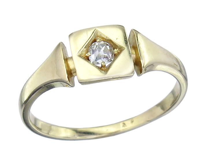 Solitär Ring Altschliff Diamant 585er Gelbgold Antik um 1920