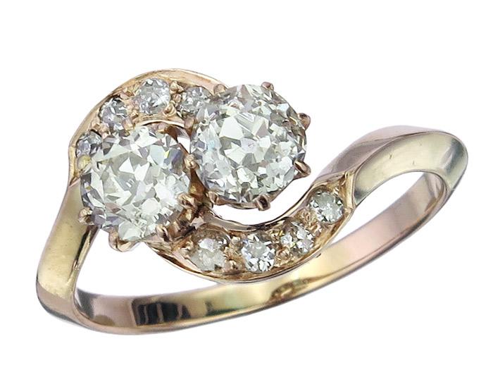 Ring Altschliff Diamanten 585er Rosegold Antik ca. 1920