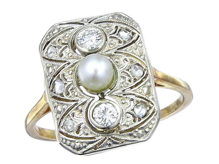 Ring Antique Diamonds Pearl Rose Cut Diamonds Platinum 14 Karat Yellow Gold approx. 1920