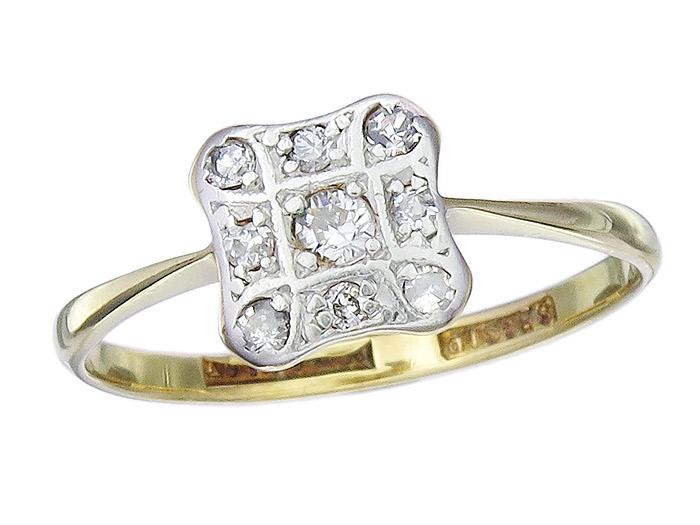 Ring Antik Diamanten 585er Gelbgold um 1920