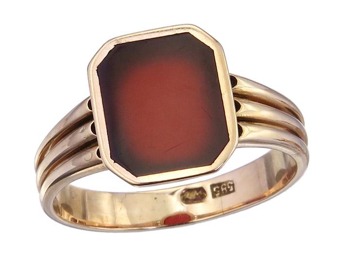 Ring Karneol 585er Rotgold Antik um 1920