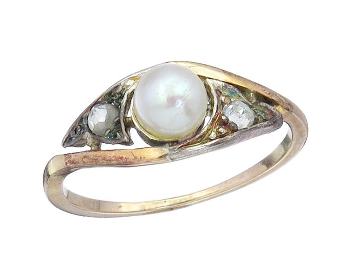 Ring Antik Perle Rosendiamanten 585er Rosegold