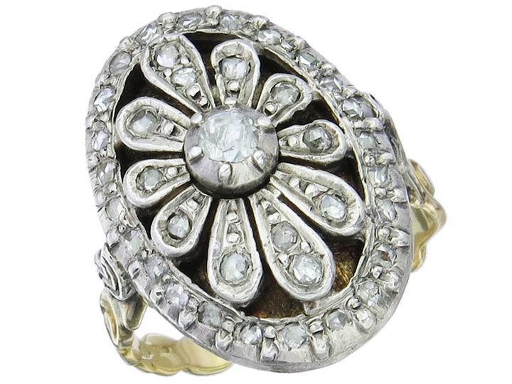 Ring Rosenschliff Diamant 585er Gold Antik ca. 1840-50