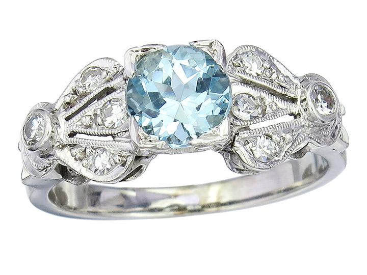 Ring Aquamarin Diamanten 585er Weissgold