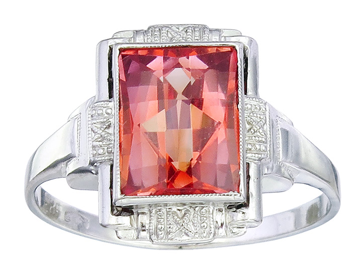Ring Art Deco Orange-Red Colored Stone 14 Karat White Gold approx. 1920-30