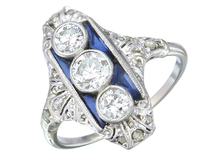 Ring Art Deco Old Cut Diamonds 14 Karat White Gold approx. 1920-30