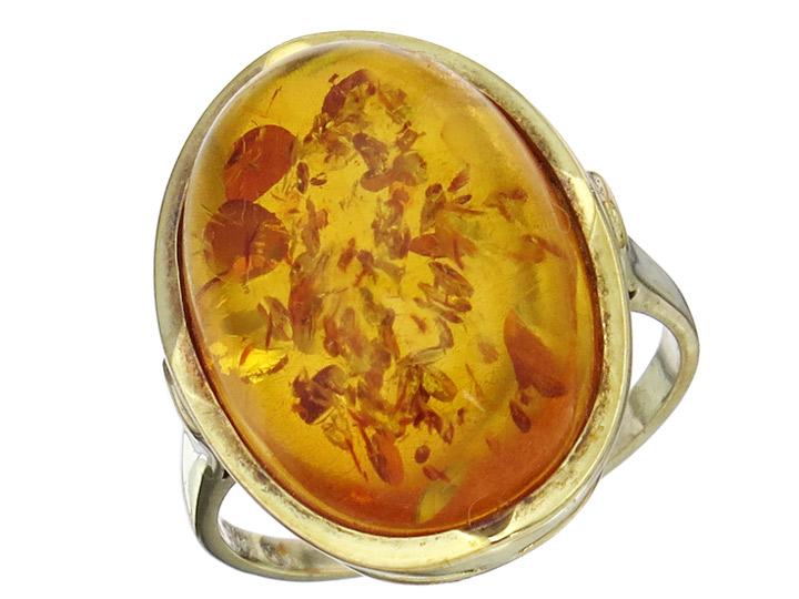 Ring Amber 9 Karat Yellow Gold