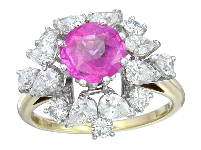Ring Brillanten Diamanten Pink Saphir 750er Gold Zertifikat