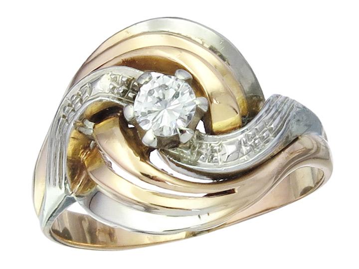 Ring Brillant ca. 0,15 Carat 750er Rose- und Weissgold