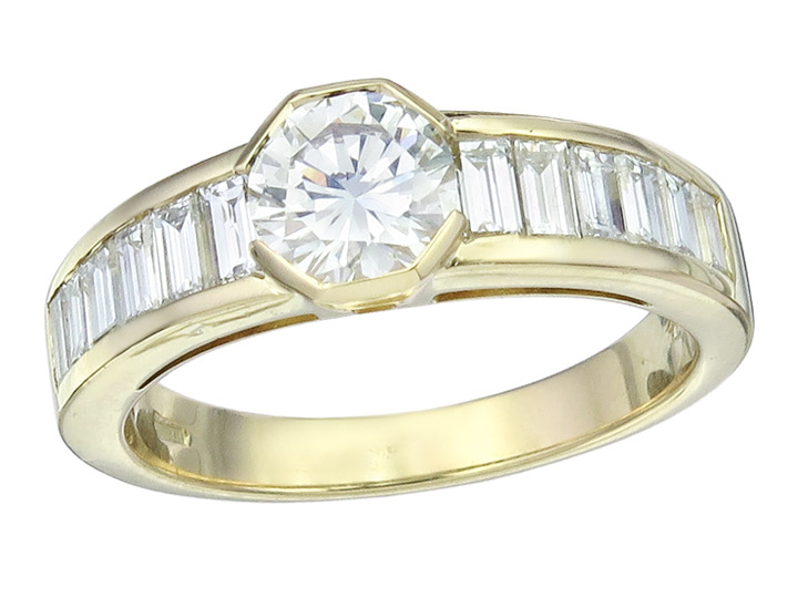 Ring Brillant 0,75 Carat Baguette Diamanten 750er Gelbgold HRD Zertifikat