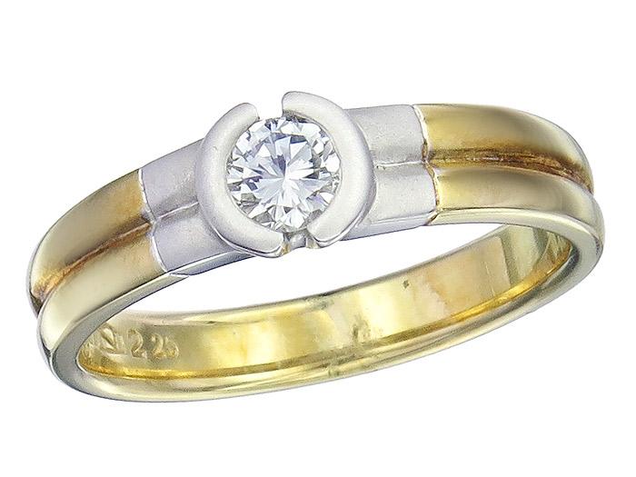 Ring Brillant ca. 0,25 Carat 585er Gold Zweifarbig