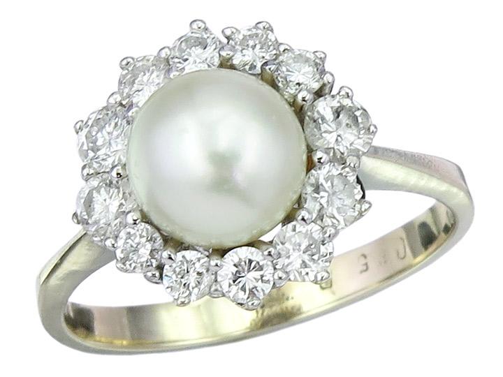 Ring Perle Brillanten 585er Weißgold