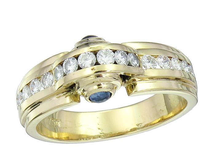 Ring Brillanten Saphire 750er Gelbgold