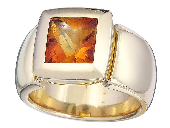 Ring Citrin Buff Top 750er Rosegold