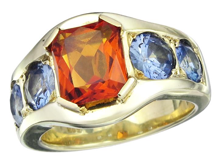 Ring Citrin und Saphire 585er Gelbgold
