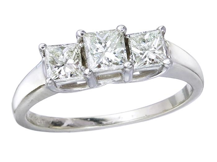 Ring Diamanten Prinzess Schliff 585er Weißgold