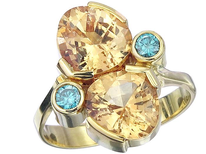 Ring Grossular Colored Diamonds 18 Karat Yellow Gold