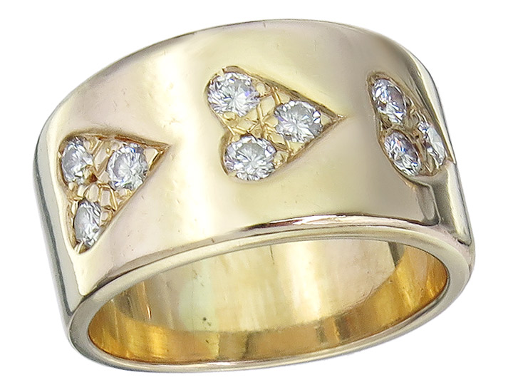 Ring Hearts Diamonds 14 Karat Yellow Gold
